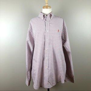 Ralph Lauren White Orange Grid Plaid Dress Shirt